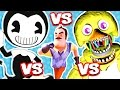 Download BENDY AND THE INK MACHINE vs HELLO NEIGHBOR vs FNAF (FNAF Nightmare Animatronics Jump Scare Me!!)