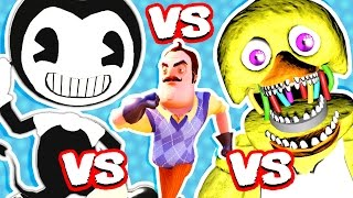BENDY AND THE INK MACHINE vs HELLO NEIGHBOR vs FNAF (FNAF Nightmare Animatronics Jumpscare Me!!)