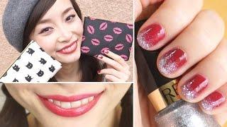 [English Subs] My Lipstick Tricks + Glitter Gradient Nails with Sponge/ELLEgirl1月号の付録が豪華過ぎる!! Thumbnail