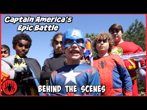 Thumbnail: Captain America's Epic Battle BEHIND THE SCENES w The Flash real life comic movie SuperHero Kids