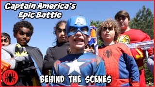 Captain America's Epic Battle BEHIND THE SCENES w The Flash real life comic movie SuperHero Kids