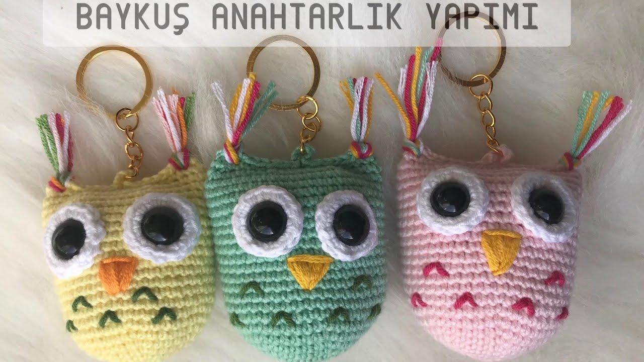 AMIGURUMI Baykuş Anahtarlık Yapımı( Amigrumi Owl Keychain Tutorial) ENG SUBS ON)