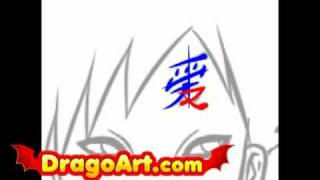 How to draw Gaara Shippuden, step by step