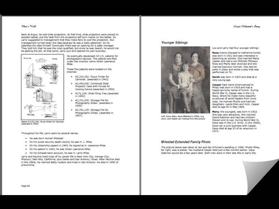 Tell Our Family Story--Sample for your family history book