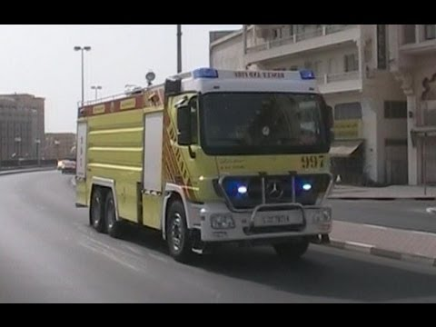 Dubai Civil Defense responding with 3 units - Command + Engine + Tanker Dubai Civil Defense Al Ras