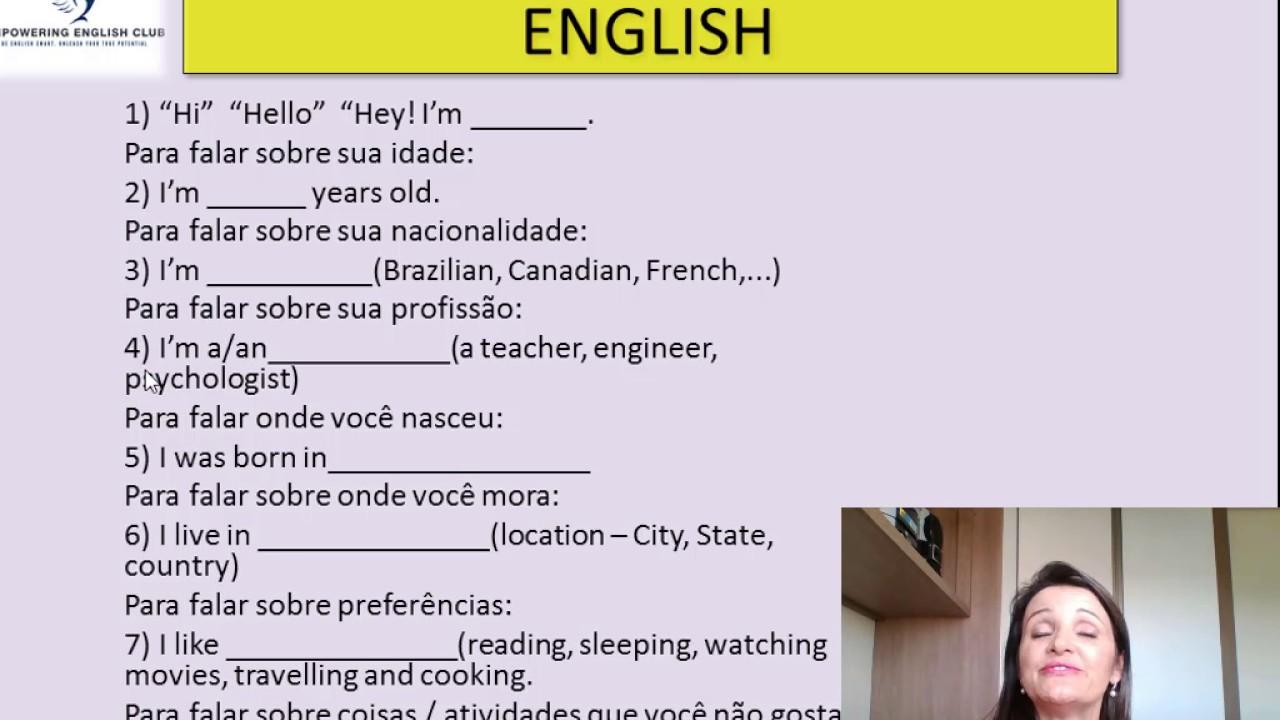 Frases Romanticas Em Inglês Como Falar: Como Falar Sobre Você Mesmo Em Inglês