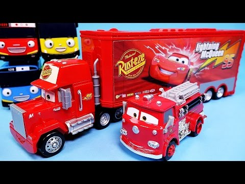 Thumbnail: Cars Disney Cars Mack Truck & Lightning McQueen, Red Deluxe & Tayo the little bus toy