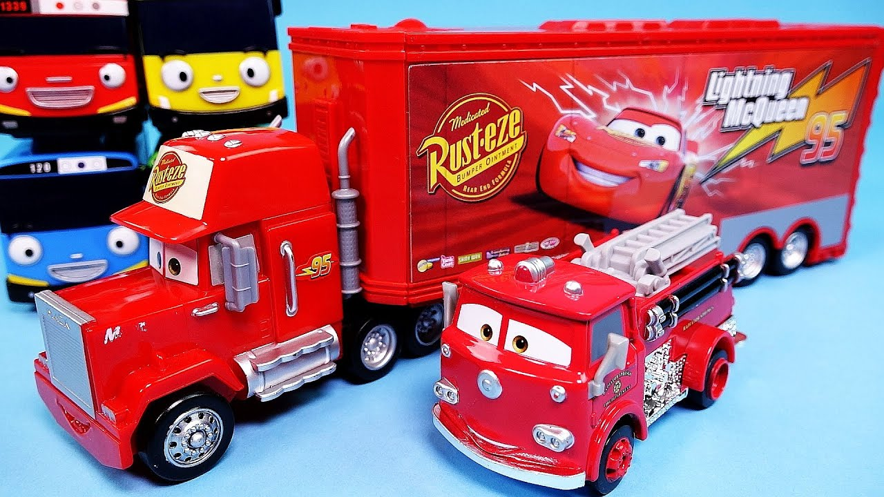 cars disney cars mack truck lightning mcqueen red deluxe tayo the little bus toy youtube - Disney Cars Toys Truck