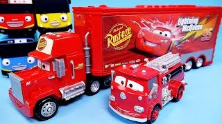 Cars Disney Cars Mack Truck & Lightning McQueen, Red Deluxe & Tayo the little bus toy