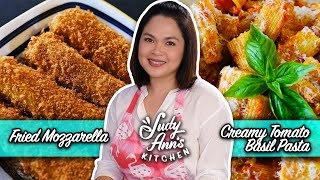 Creamy Tomato Basil Pasta and Fried Mozzarella with BBQ Seasoning | Judy Ann's Kitchen