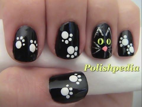 black cat nail art halloween