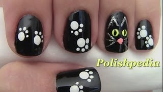 Black Cat Nail Art for Halloween