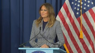 Melania Trump Jokes About Being Late Following Plane Scare