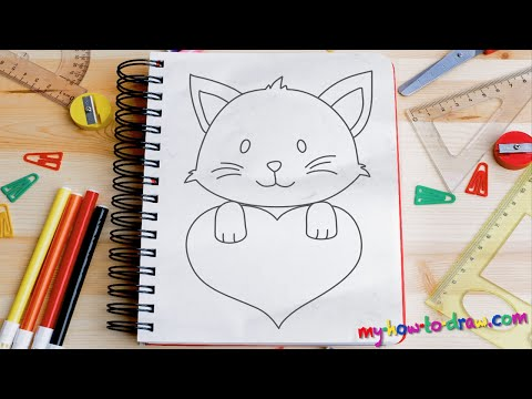 How to draw Cute Kittens with Love Hearts - Easy step-by-step drawing lessons for kids