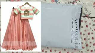 Unboxing silk lehenga choli from amazon | party wear lehenga choli | lehenga dikhaye | pattu padava