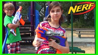 NERF Crossbolt Toy Gun Review and Mini Kid PLAY NERF WAR with RADIOJH AUTO