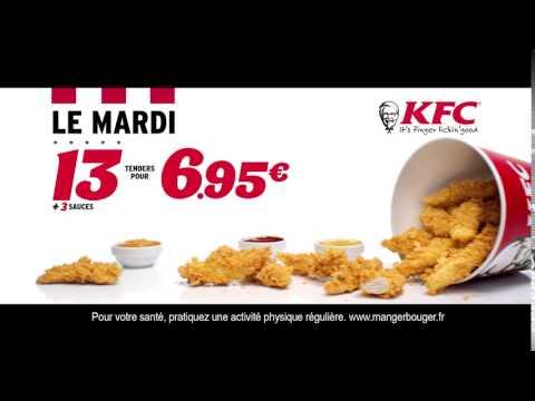 Vidéo KFC - OFFRE DU MARDI  : 13 TENDERS + 3 SAUCES POUR 6.95€