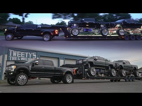 How a F350 Platinum Dually was built 6 inch lift kit with 26s! TOWS two trucks on 30x16s to Daytona