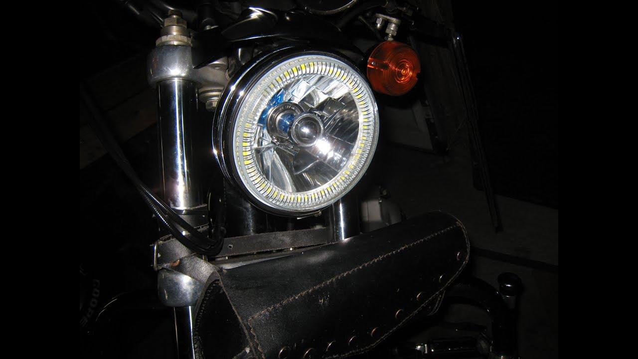 install octane lighting 5 3 4 white halo halogen h4 bulb headlight angel eye led harley