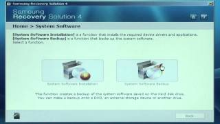 Samsung Recovery Solution 4 - Creating a System Software Backup