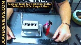 Scorpion Table Top Desk Cigar Cutter Guillotine & V Cut Large 4 Sizes