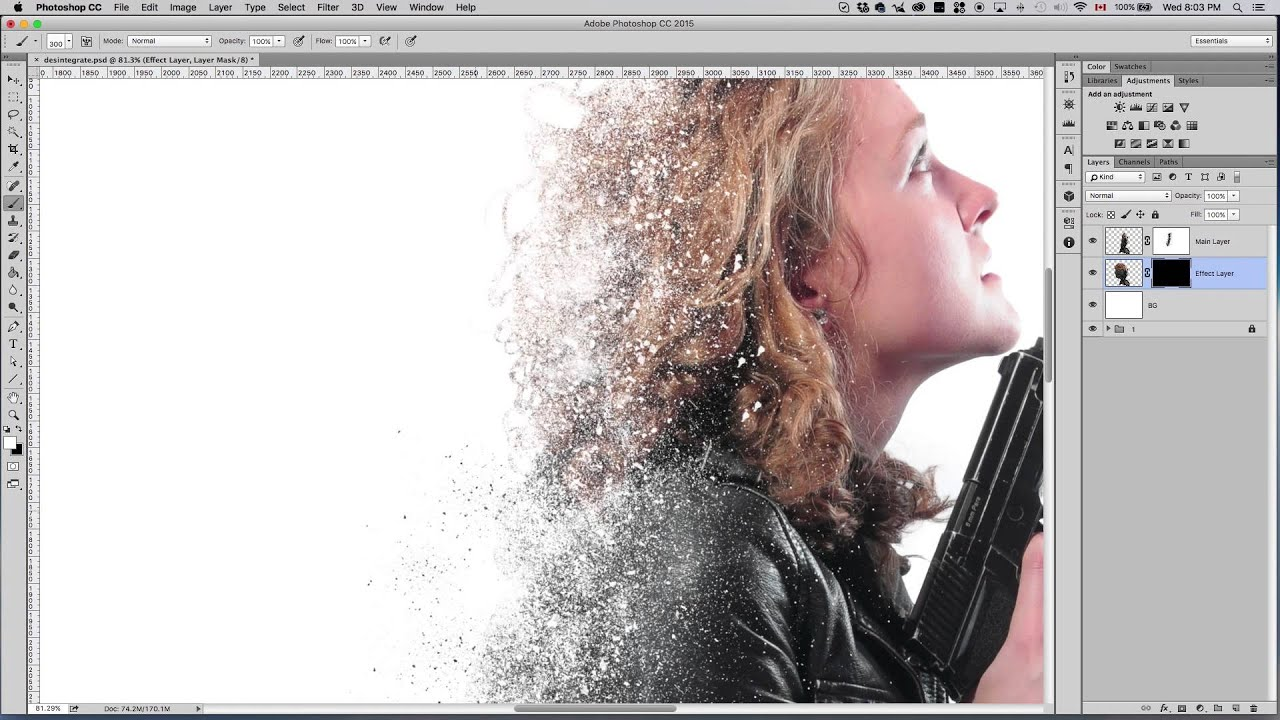 Disintegration Effect Using Photoshop Cc Tutorial Youtube