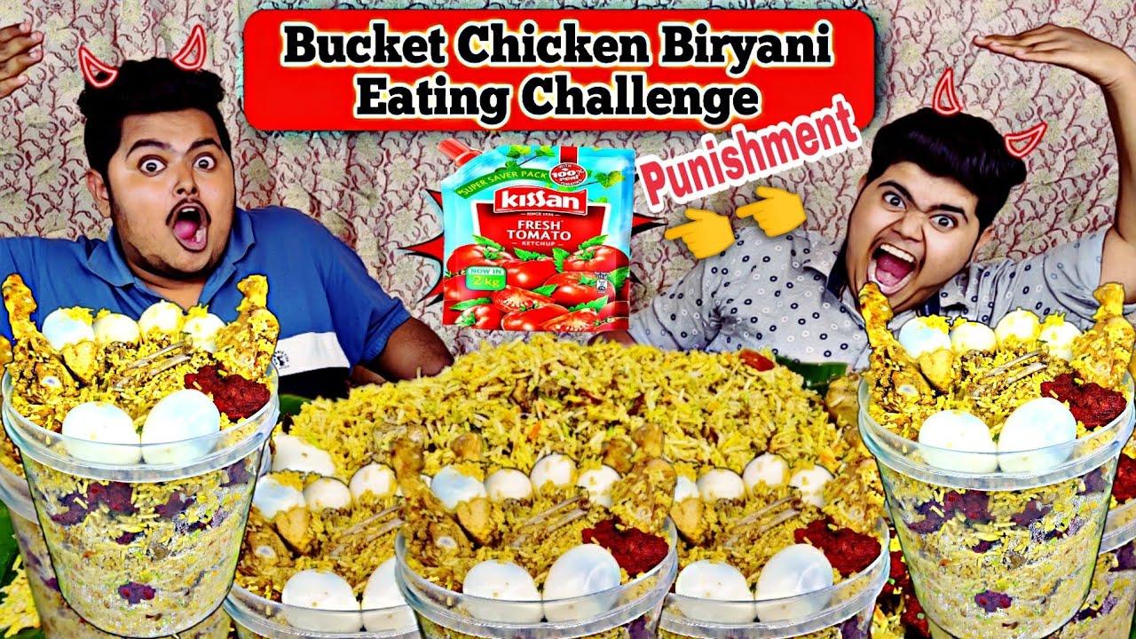 4KG Bucket Chicken Biryani Eating Challenge🔥   Chicken biryani+Chicken 65+Boiled Egg 💪