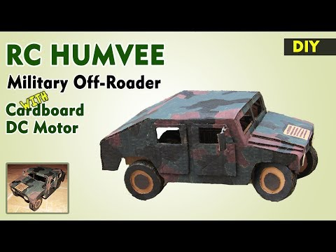 How to make HUMVEE RC / Military truck out of cardboard with dc motor | DIY