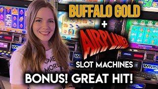 BONUS and BIG Line Hit!! AIRPLANE! Slot Machine!!