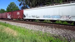 Westbound train East and local freight train West.