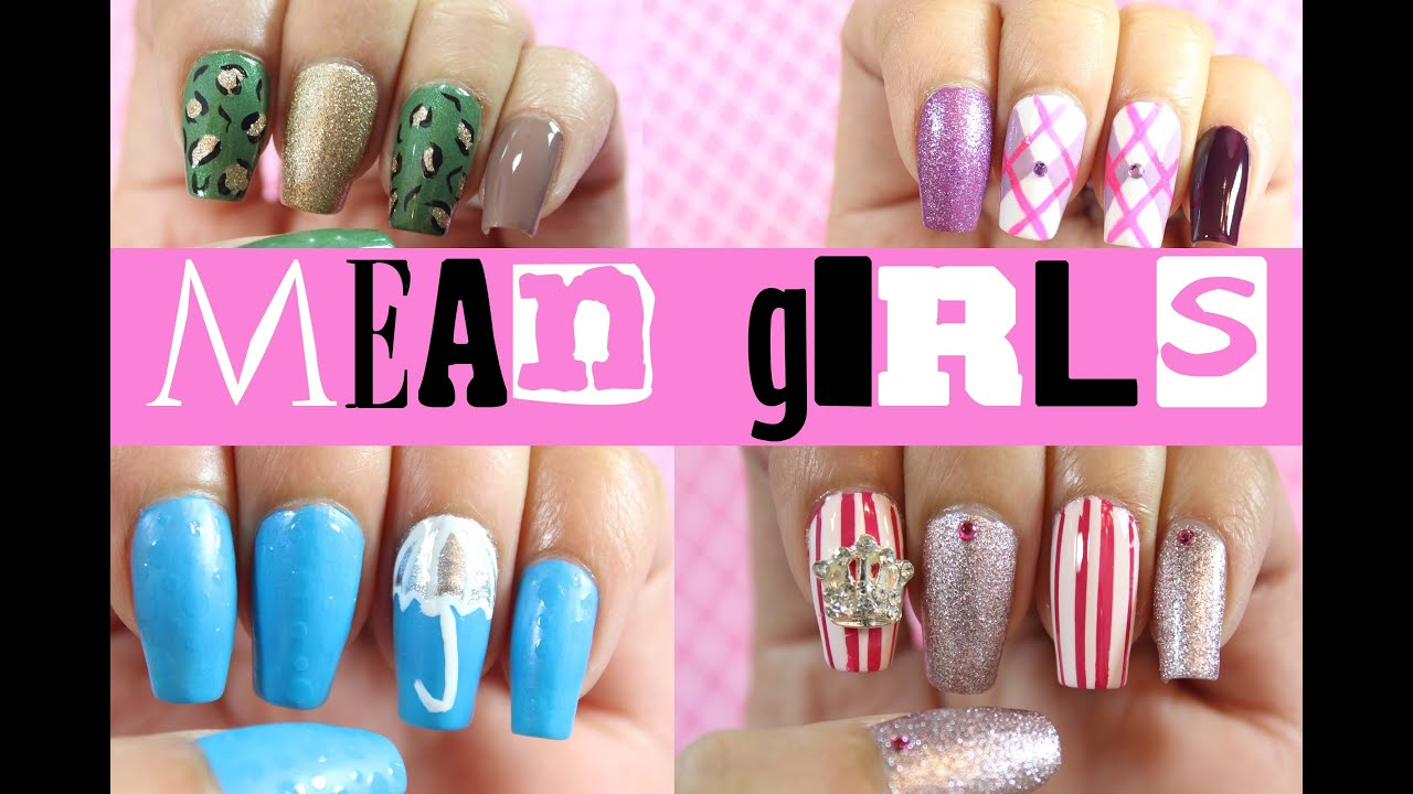mean girls nail art dee2102 youtube
