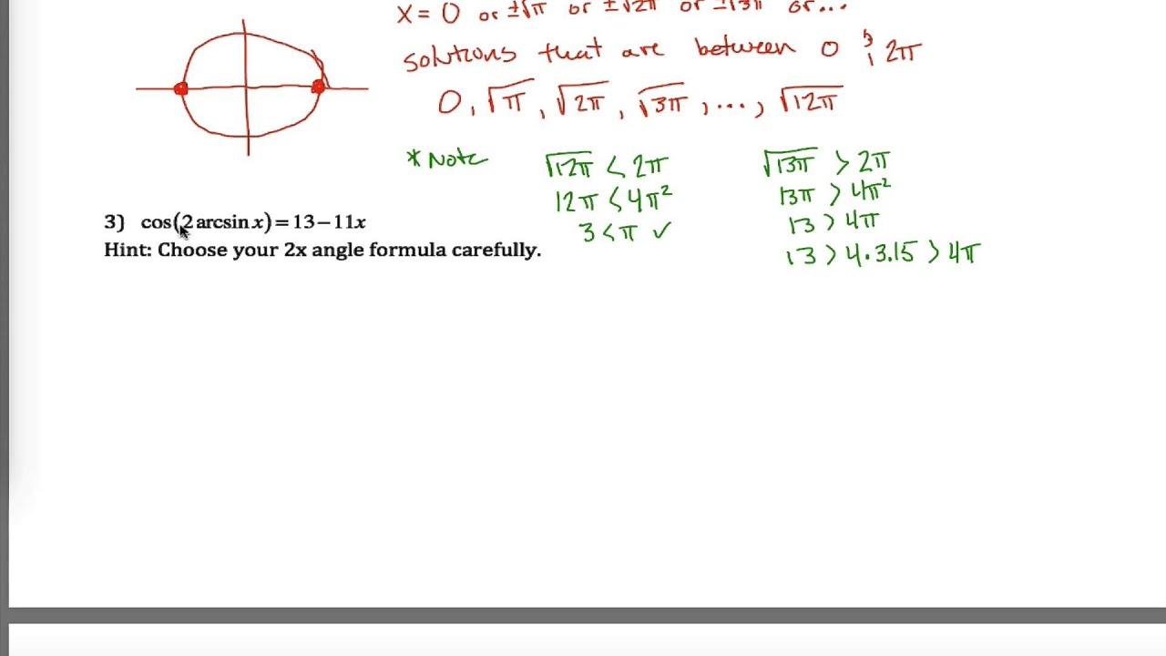 Hard Trig Equations Worksheet