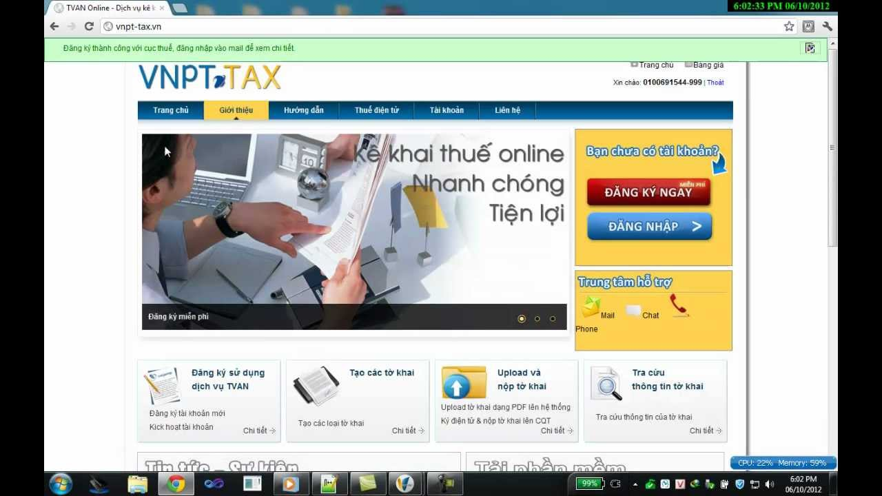 Kê khai thuế qua mạng qua web Vnpt-Tax