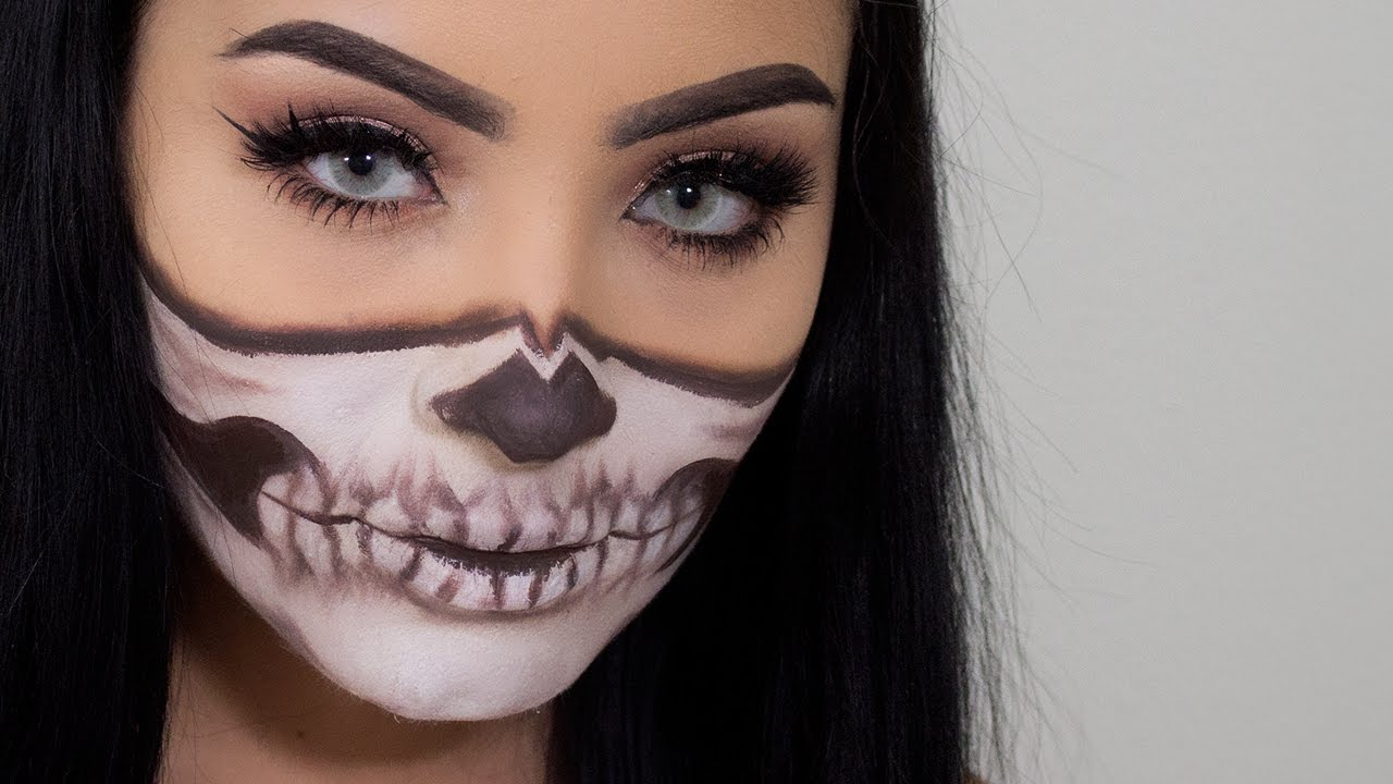 Easy Half Skull Halloween Makeup - YouTube