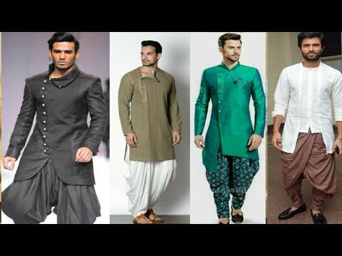 Men kurta with dhoti pant suit designs| Men indo western dress design|neckline design
