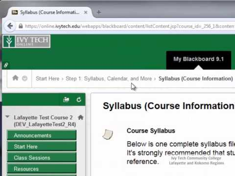 Basic Course Navigation in Blackboard