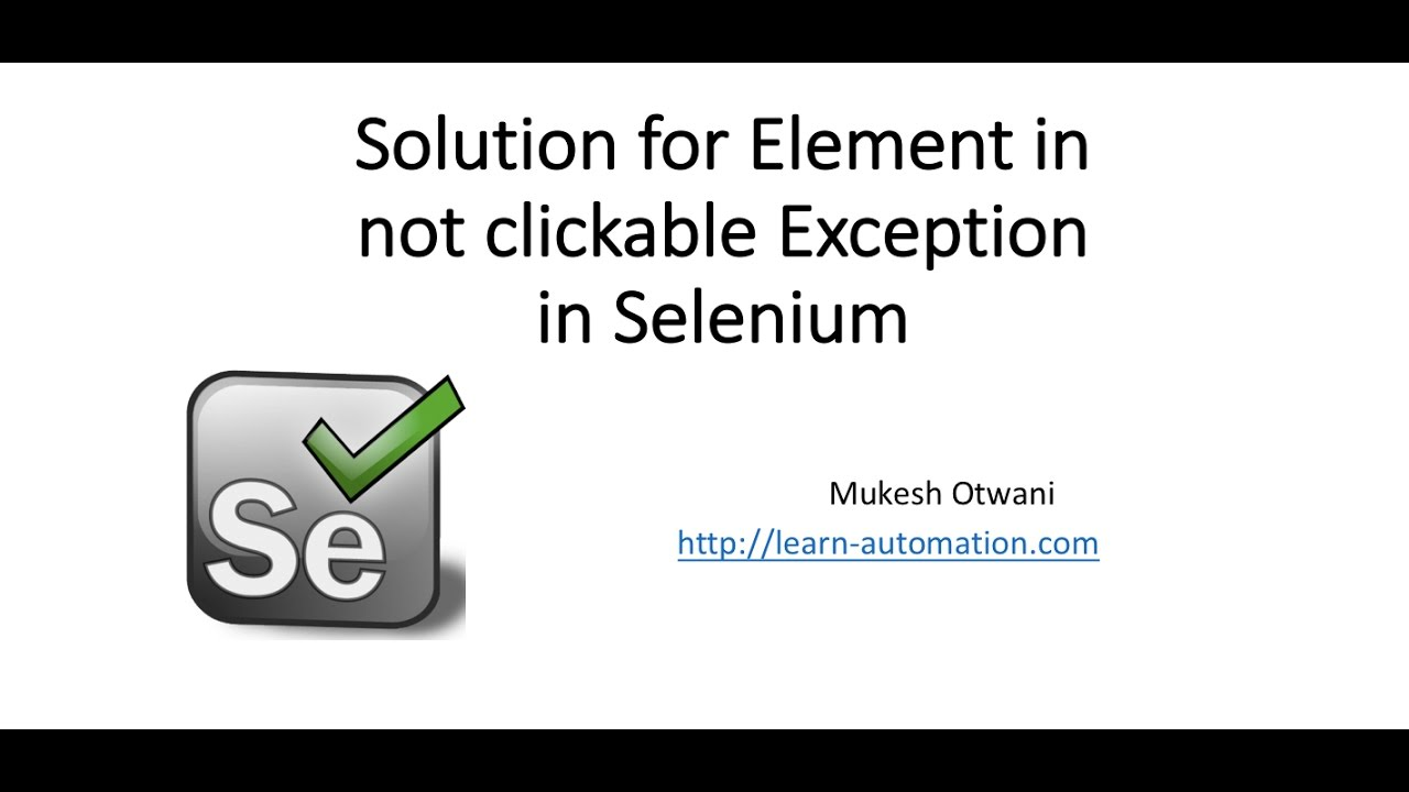 How to Handle Element is Not Clickable at Point Exception in Selenium  Webdriver