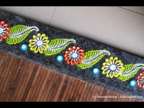 Easy border rangoli creative rangoli designs by poonam for Door entrance rangoli designs