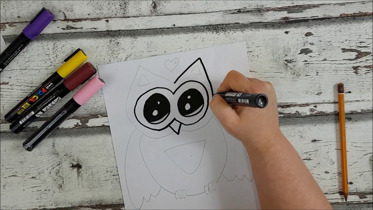 s e kawaii eule einfach malen deutsch how to draw a owl youtube. Black Bedroom Furniture Sets. Home Design Ideas