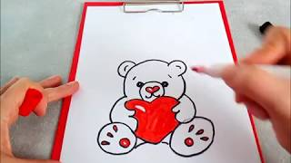 Рисуем медвежонка Тедди с  сердечком. Для поздравительной открытки