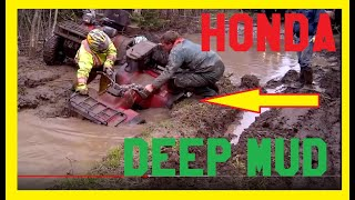 Honda ATV Stuck in Deep Mud Hole