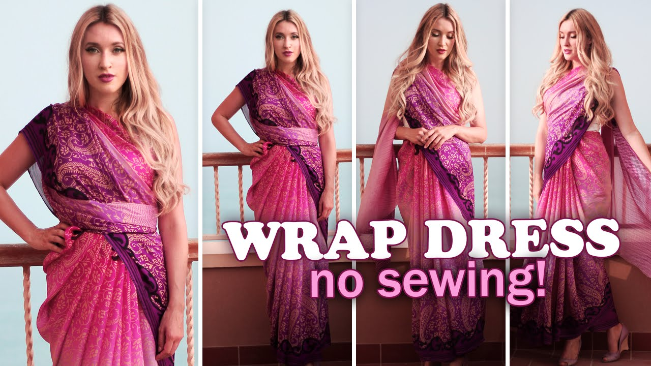 Summer wrap dresses without sewing ☆ How to drape a saree - YouTube