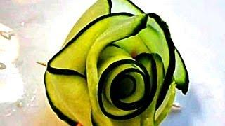 Украшения из овощей. Роза из огурца.   Украшения из огурца. Carving Cucumber.(Легкий карвинг. Получится у всех. Быстро, просто и легко делаем розу обыкновенным ножом. Удивляйте гостей!..., 2013-08-13T14:13:32.000Z)