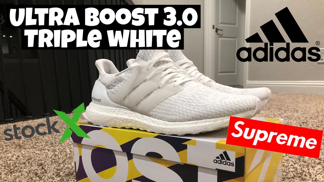 quality design 8c938 6c234 Adidas Ultra Boost 3.0 Triple White Unboxing + Review  StockX