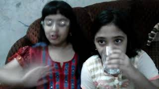 My little sister arita with her best friend nughat  popcorn  challenge  again