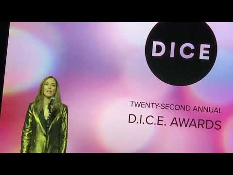 Halo steward Bonnie Ross accepts the Hall of Fame award at the DICE Awards