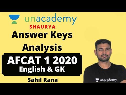 AFCAT 1 2020 Answer Keys   AFCAT 1 2020 English Answer Keys   AFCAT 1 2020 GK Answer Keys