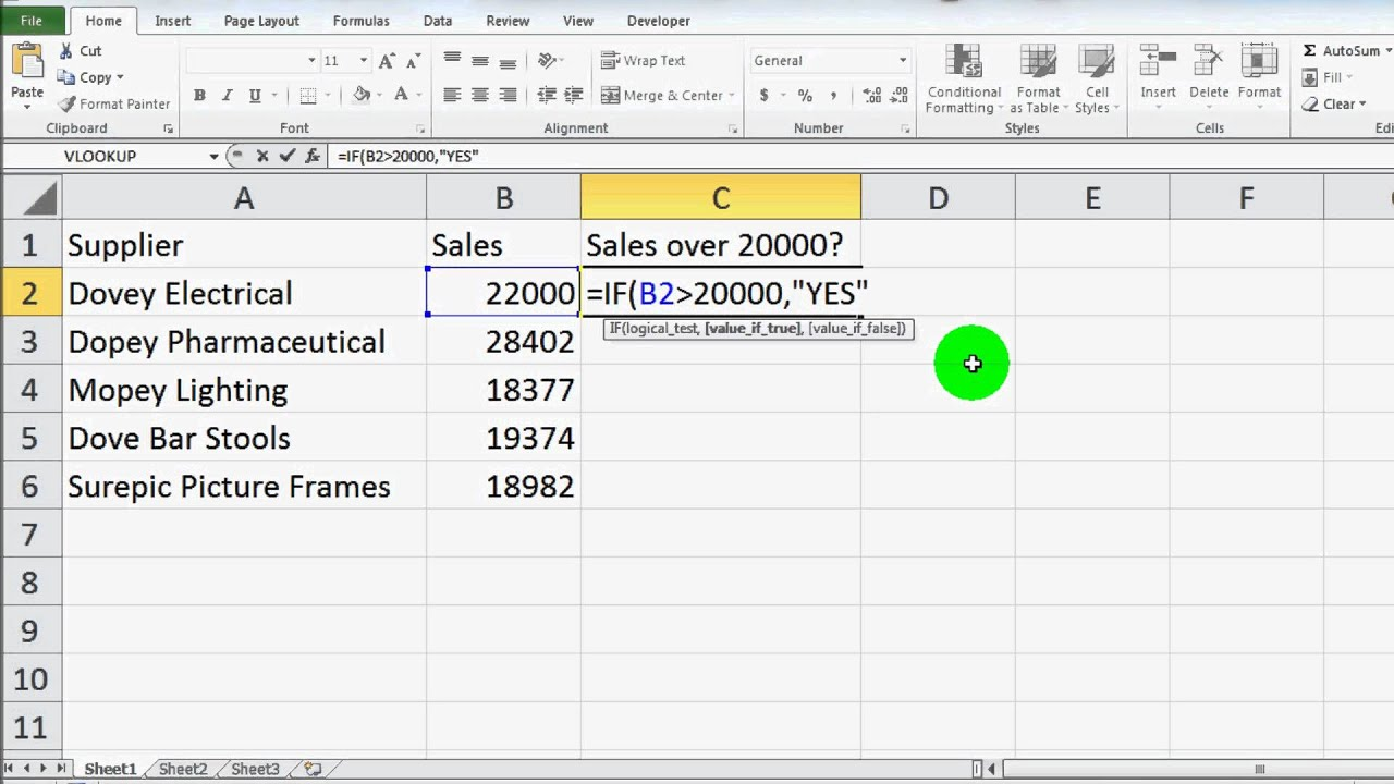 How to write nested if else condition in excel
