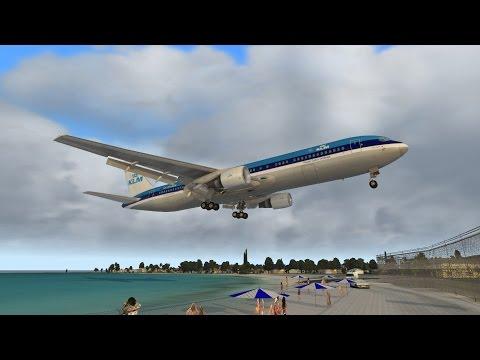 X-Plane 11 Landing in St. Maarten / Princess Juliana TNCM KLM 767 Edtracker Pro