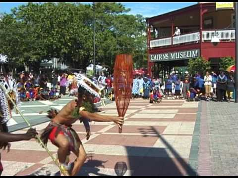 "Torres Strait Islander Dancers perform ""Kab Kar"" in Cairns, Australia"